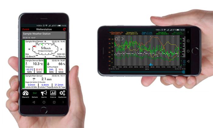 Leitura da Estação Meteorológica no celular smartphone